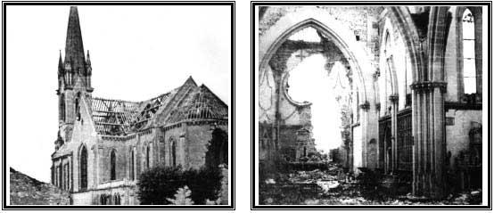 Deux clichés sur les ruines de l'église bombardée