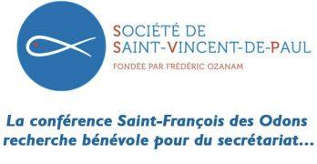 Conférence St Vincent de Paul : un(e) bénévole recherché(e) pour secrétariat