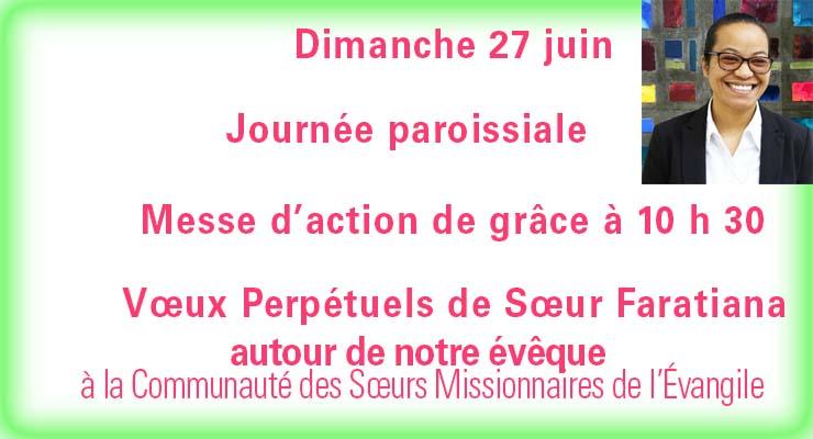 [27.6.21]Journée paroissiale et Vœux Perpétuels de Sœur Faratiana